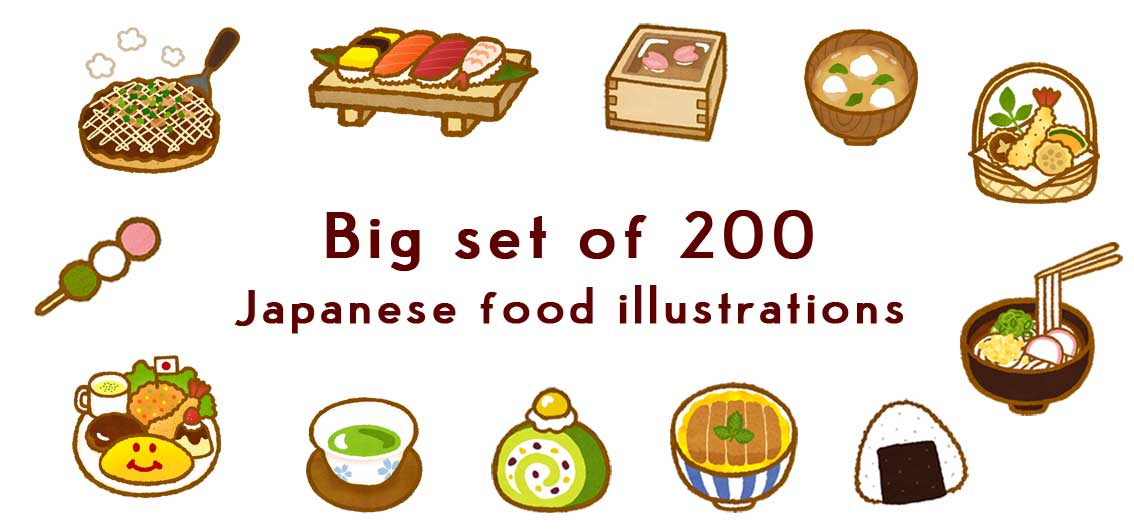 a illustration of sushi and tempura