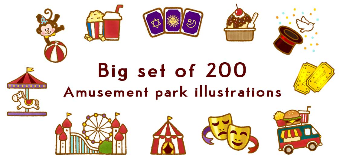 a illustration of amusement park and circus