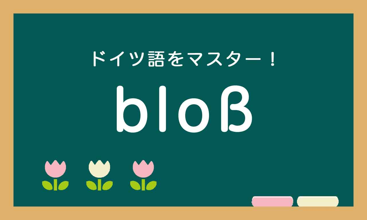 【bloß の使い方】ドイツ語トレーニング